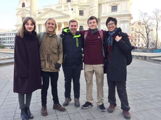 Kye Halford and his colleagues in front of St. Charles's Church in Vienna.