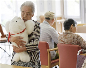 The robot PARO, which has been used for cognitive therapy for elderly with dementia. Photo: Flickr.com/Amber Case.