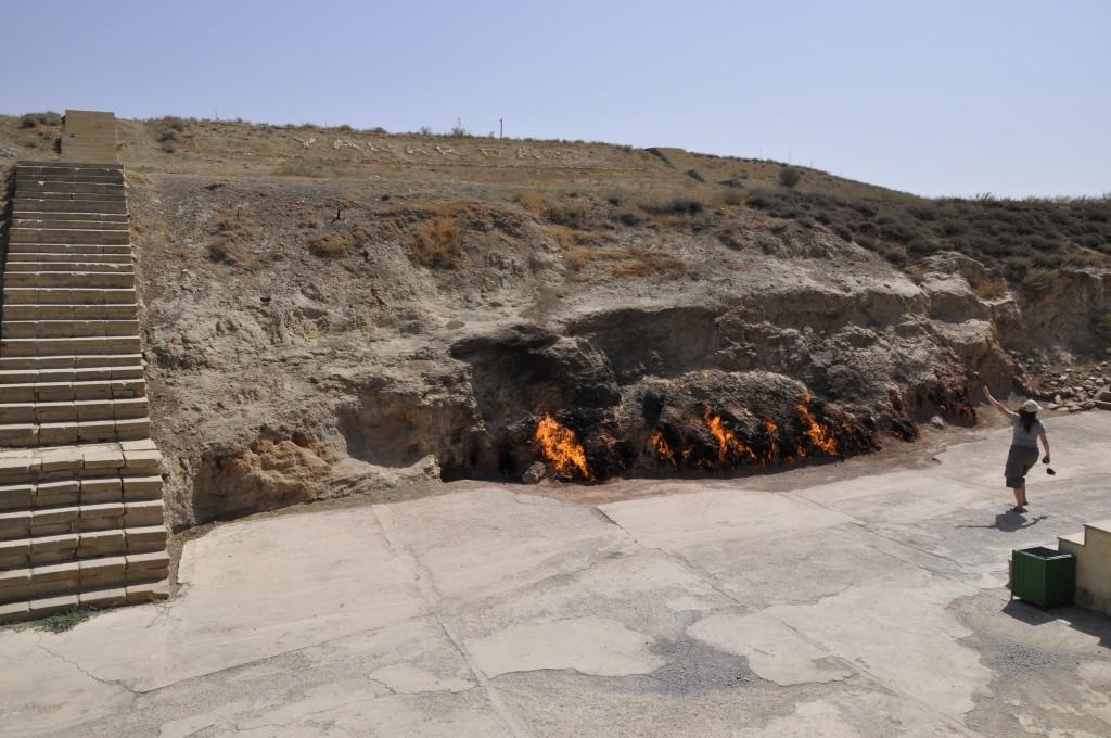 Der brennende Hügel Yanar Dag