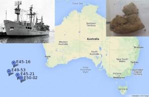 Bild 2: Die Tiefseesedimente aus dem Indischen Ozean sind etwa 1000 km südwestlich von Australien geborgen worden. Das Forschungsschiff Eltanin (oben links, www.navsource.org), das den Bohrkernen auch ihre klingenden Namen gab (E steht für den Schiffsnamen, gefolgt von Cruise- und Bohrkernnummer), holte das Material schon Anfang der 70er Jahre aus dem Meer. Oben rechts ist eine der 2-Euro-münzgroßen Proben dargestellt.