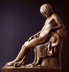 Male sculpture in brown