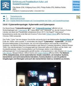 """Screenshot der offenen und kostenlosen digitalen Lernunterlage für die Vorlesung """"Einführung und Propädeutikum Kultur- und Sozialanthropologie"""" an der Universität Wien."""
