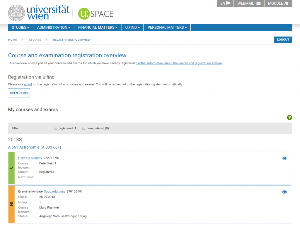 Screenshot Registration overview