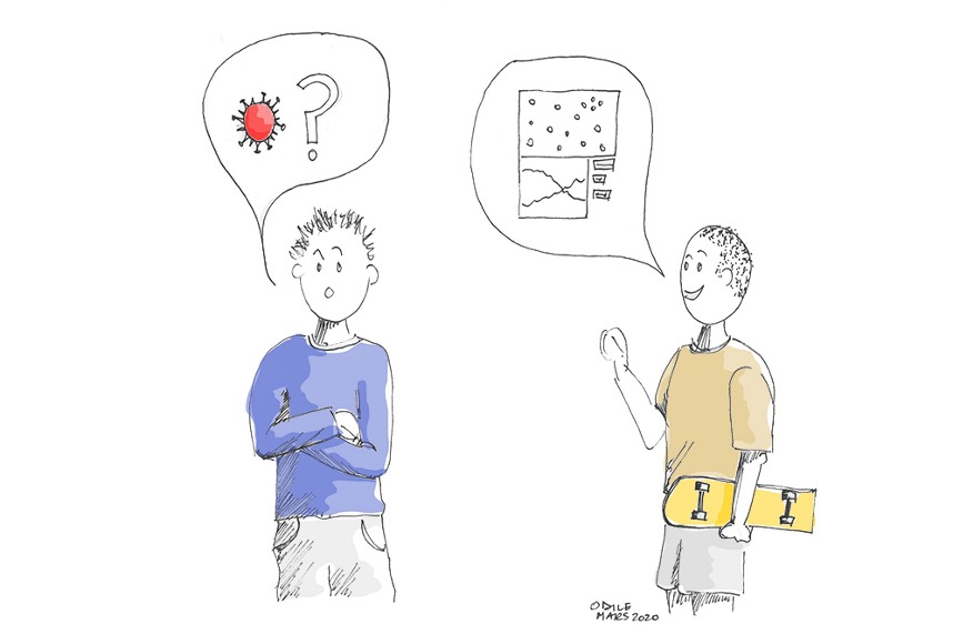 Illustration two people talking